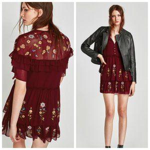 Zara Burgundy Embroidered Frilled Ruffle Dress